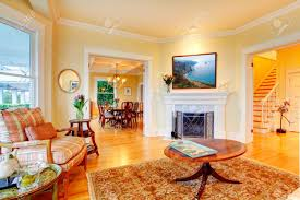 Luxury Living Room Golden Bright Yellow Luxury Living Room With Fireplace Sofa