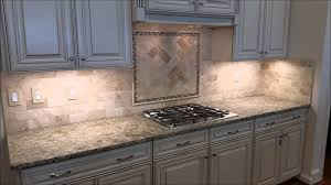 Travertine Kitchen Backsplash Travertine Backsplash With Herringbone Inlay Youtube