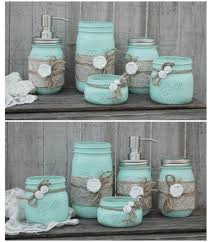 Mason Jar Bathroom Accessories Mason Jar Bathroom Set Mint Green Shabby Chic Soap Dispenser