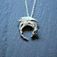 incredible dragon necklace sterling silver winged on moon zoom game of throne osr daenery runescape