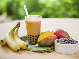 mango smoothie bubble tea with fruit and tapioca