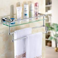 breathtaking bathroom assecories with glass bathroom shelves with towel bar