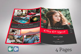 Remember Red Funeral Program Word Publisher Template 4 Pages