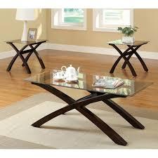 brown glass coffee table set