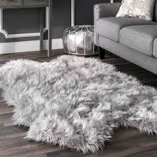 rug modern flokati rug luxury nuloom faux flokati sheepskin soft and plush cloud light grey