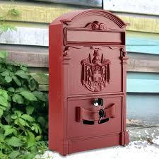 vintage wall mount mailbox lockable post mount mailbox red vintage outdoor lockable post box large mailbox vintage wall mount mailbox