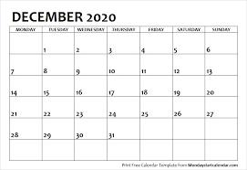 Blank Calendar December 2020 Monday Start Archives Monday
