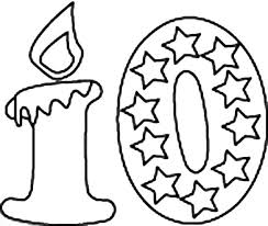 Small Picture Birthday Candle Number 10 Coloring Page Bulk Color