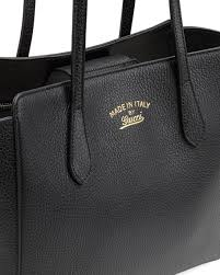 gucci bags made in italy. swing small leather tote bag, black gucci bags made in italy
