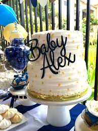 Blue Gold And White Baby Shower Cake Topper From Etsy Blue