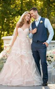 pink floral bridal gown with textured skirt stella york