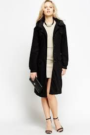 las black faux fur collar long belted lined fleece smart winter coat alders of faversham tictail