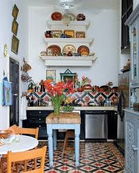 Patterned Tiles For Kitchen Lively Small Boho Chic Kitchen Design Layout With Ethnic Patterned