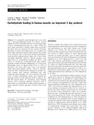 Pdf Carbohydrate Loading In Human Muscle An Improved 1 Day