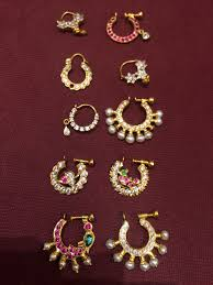 Small Gold Nose Pin Design Nose Rings Antique Pearl Ruby Gold Mookothi Nathni