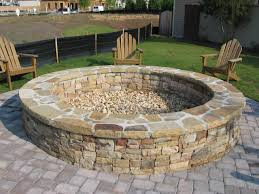 Stacked Stone Fire Pit Large Fire Pit Round Stone Fire Pit And Bench With Large Wooden 3713 by xevi.us