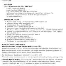 Resume Template For College Students Math High School Resume