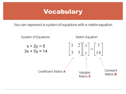 you can represent a system of equations with a matrix equation