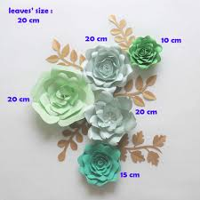 Diy Giant Paper Rose Flower Diy Giant Paper Flowers Backdrop Artificial Handmade Green Paper Flower 5pcs 5 Leaves Wedding Party Deco Home Decoration