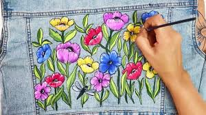 Free Painting Designs How To Paint A Denim Jacket Free Hand Drawing Painting Tutorial Fabric Painting Designs