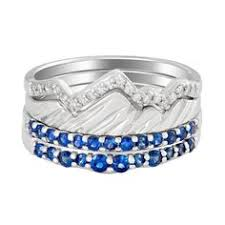 limited edition 18 karat white two stack teton mounn rings with sapphire jenny lake bands jackson hole jewelry pany