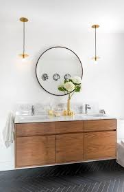 10 Beautiful Bathrooms with a Round Vanity Mirror | Mid century ...