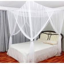MOSQUITO NET for Double Bed, 4 Corner Post Elegant Bed Canopy Curtains, Full/Queen/King