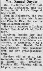 Obituary for Ida Rice Snyder (Aged 89) - Newspapers.com