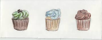 vintage cupcakes drawing. Delighful Cupcakes Three Cupcakes Intended Vintage Drawing