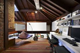 wooden home office. Office Of House With Wooden Elements And Beautiful Garden Home