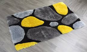 stylish thick super soft fluffy 3d deep textured deep pile plain gy rugs mat yellow colour