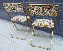 pair of htf vintage french lafuma folding chairs tubular steel tapestry extra mid century seating backpacks