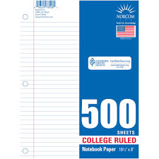 Norcom College Rulet Filler Paper 500 Sheets Walmart Com