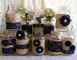 Decorative Jars And Vases rustic burlap and navy blue lace covered mason jar vases wedding 84