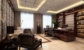 office reception decor. With Stylish Dark Brown Wood Office Desk Comfortable White Leather Chair Curved Reception Decor