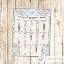 Seating Chart Boy Christening Boy Baptism First Communion Seating Chart Blank Card Gold Blue Damask Printable Editable File Instant Download