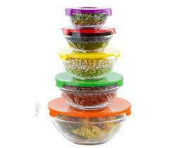 new 5 stackable glass bowl bowls food storage kitchen set with lids red blue