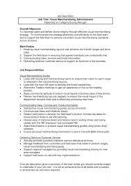 Sample Resume For Merchandiser Job Description Merchandising Resume Samples Literarywondrous Fashion Visual Sample 12