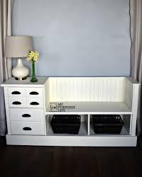 white dresser bench bead board MyRepurposedLife.com