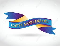 Anniversary Ribbon Multicolor Happy Anniversary Ribbon Illustration Design Over