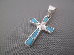 turquoise jewelry turquoise inlay cross pendant by native american jewelry artist tim charlie 145