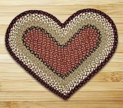 burdy mustard heart shaped braided rug