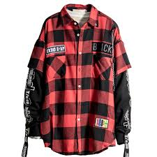 Patterned Button Up Shirts Adorable Red And Black Plaid Patchwork Shirt Men Patterned Hip Hop Checkered