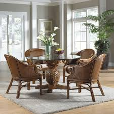 dining room inspiring rattan sets wicker furniture chairs piece with gl table and white flowers carpet