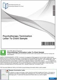 Psychotherapy Termination Letter To Client Sample - Pdf