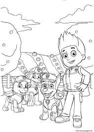 Paw Patrol Ryder With Chase Rocky Coloring Pages Printable