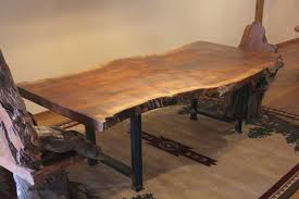 industrial furniture legs. Live Edge Claro Walnut Dining Table With Metal Industrial Legs -dining-room Furniture E