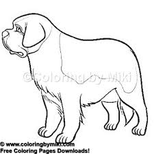 Dogs Saint Bernard Coloring Page 1100 Animals Beautiful