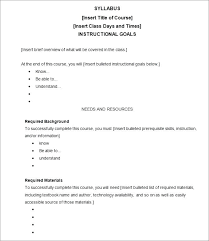 Syllabus Sample Template Sample Course Outline Template Syllabus Format Template