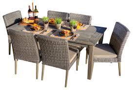 7 piece patio dining set. Paco 7-Piece Antique Grey Hard Wood/Grey All-Weather Wicker Patio Dining 7 Piece Set P